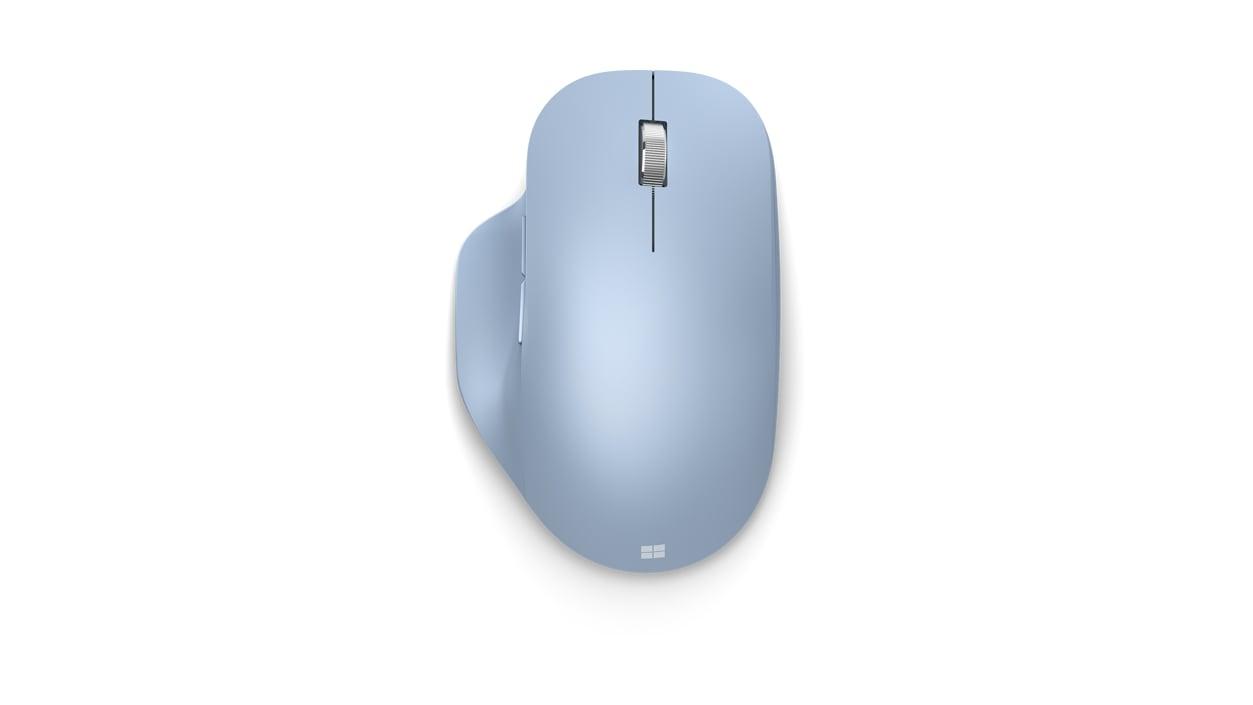 Top view of Pastel Blue Microsoft Bluetooth Ergonomic Mouse.