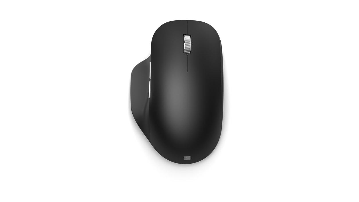 Top view of Black Microsoft Bluetooth Ergonomic Mouse.