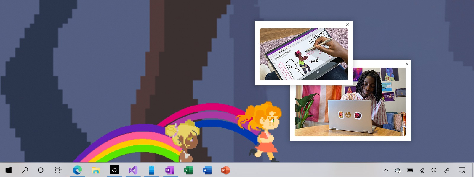 Geneva's game in the background, with stickies of them working with the Pen and on their laptop