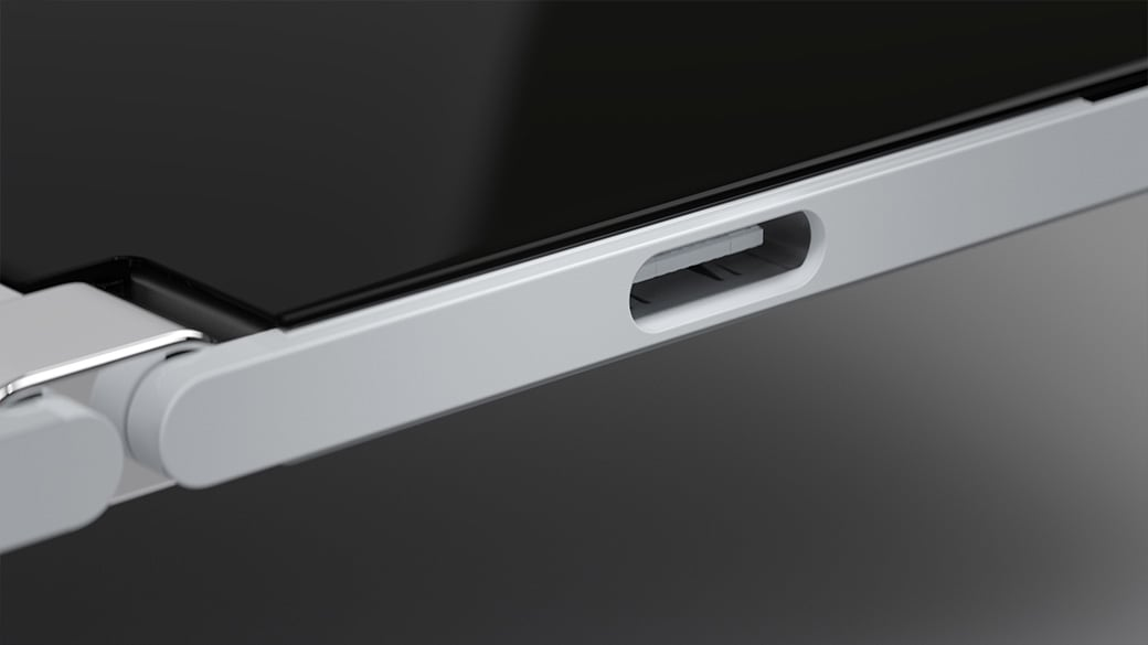 A side profile image of Surface Duo showing the USB-C® connection