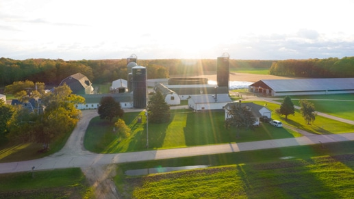 Farm shown from above