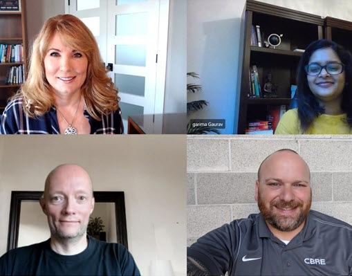 Screenshot of Schaefer, Guarav, Orum Hansen, and Walker meeting via Microsoft Teams.