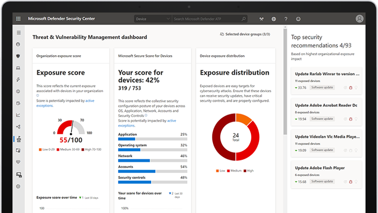 Device screen displaying Microsoft Defender for Endpoint Threat & Vulnerability Management dashboard.
