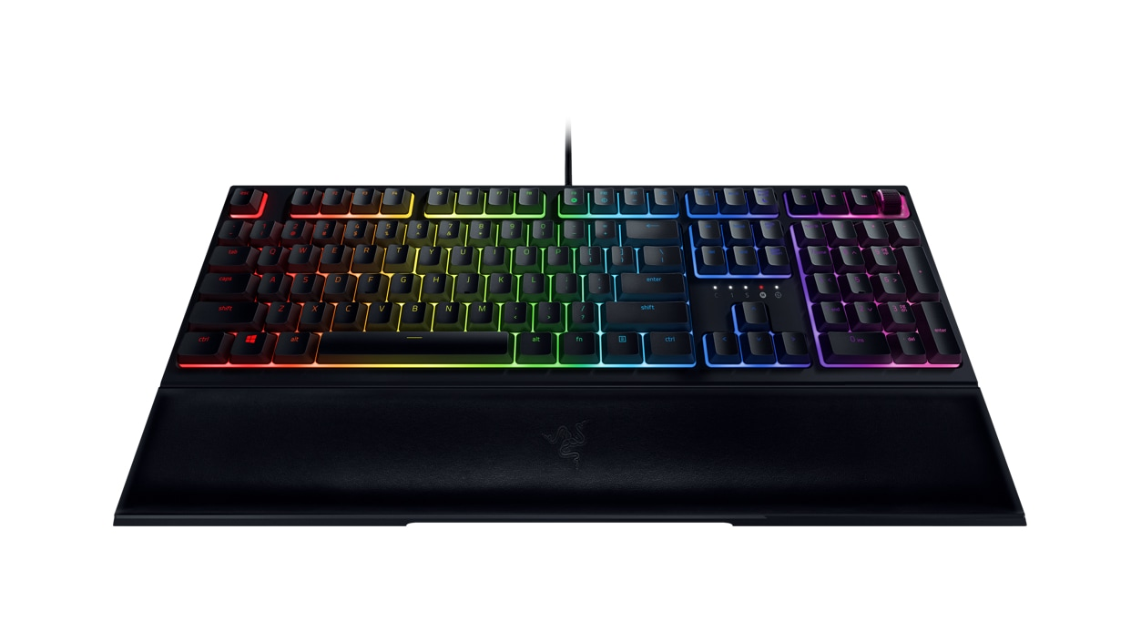 Front view of Razer Ornata V2 with magnetic wrist rest