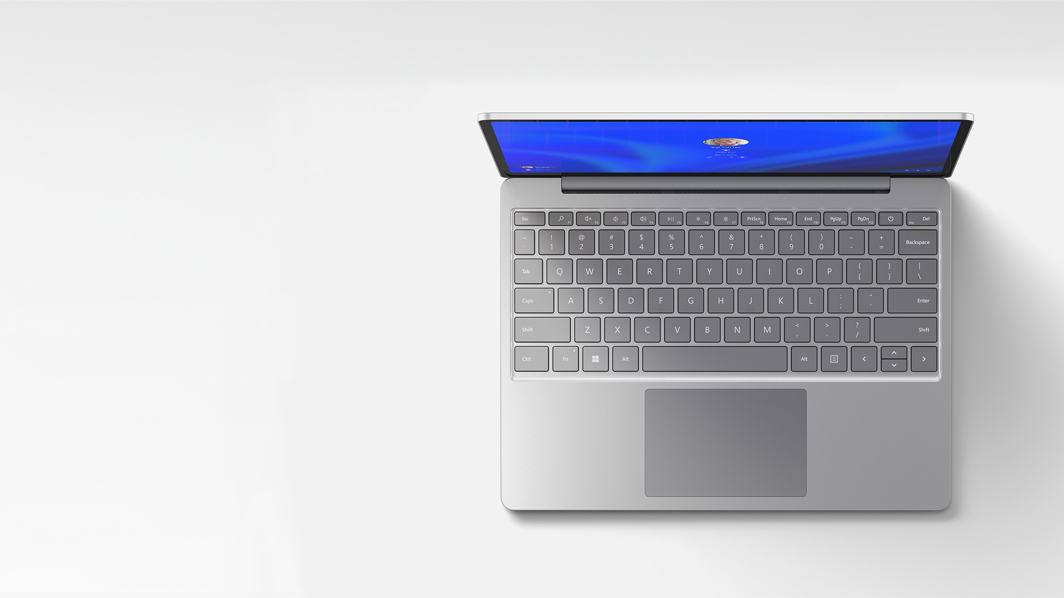 Surface Laptop Go is open viewed from above
