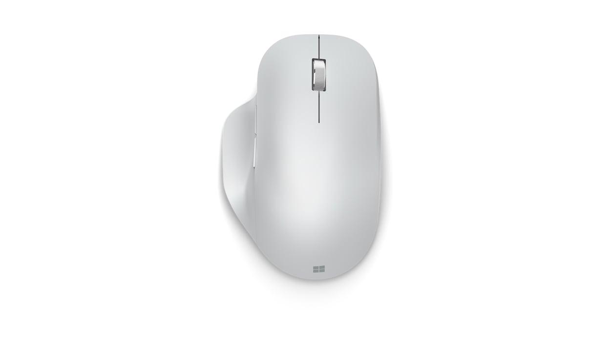 Top view of Monza Grey Microsoft Bluetooth Ergonomic Mouse.