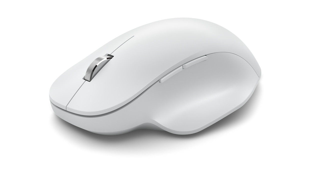 Angled side view of Monza Grey Microsoft Bluetooth Ergonomic Mouse.