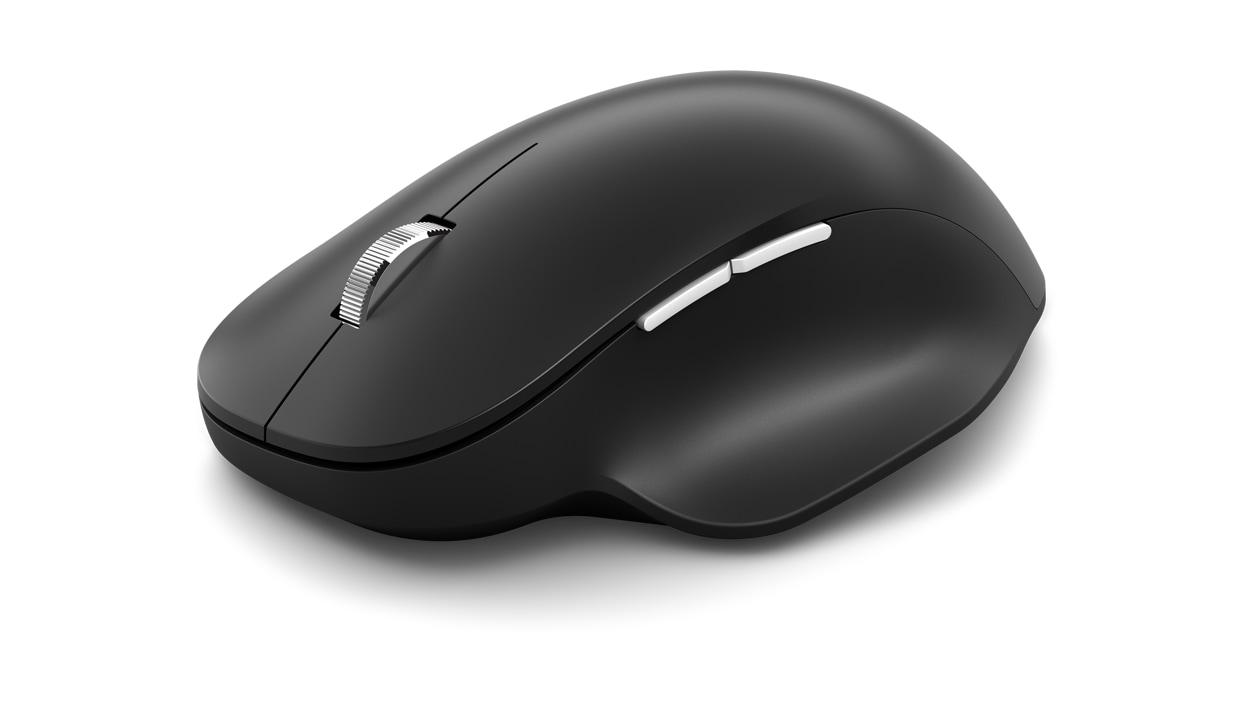 Angled side view of Black Microsoft Bluetooth Ergonomic Mouse.
