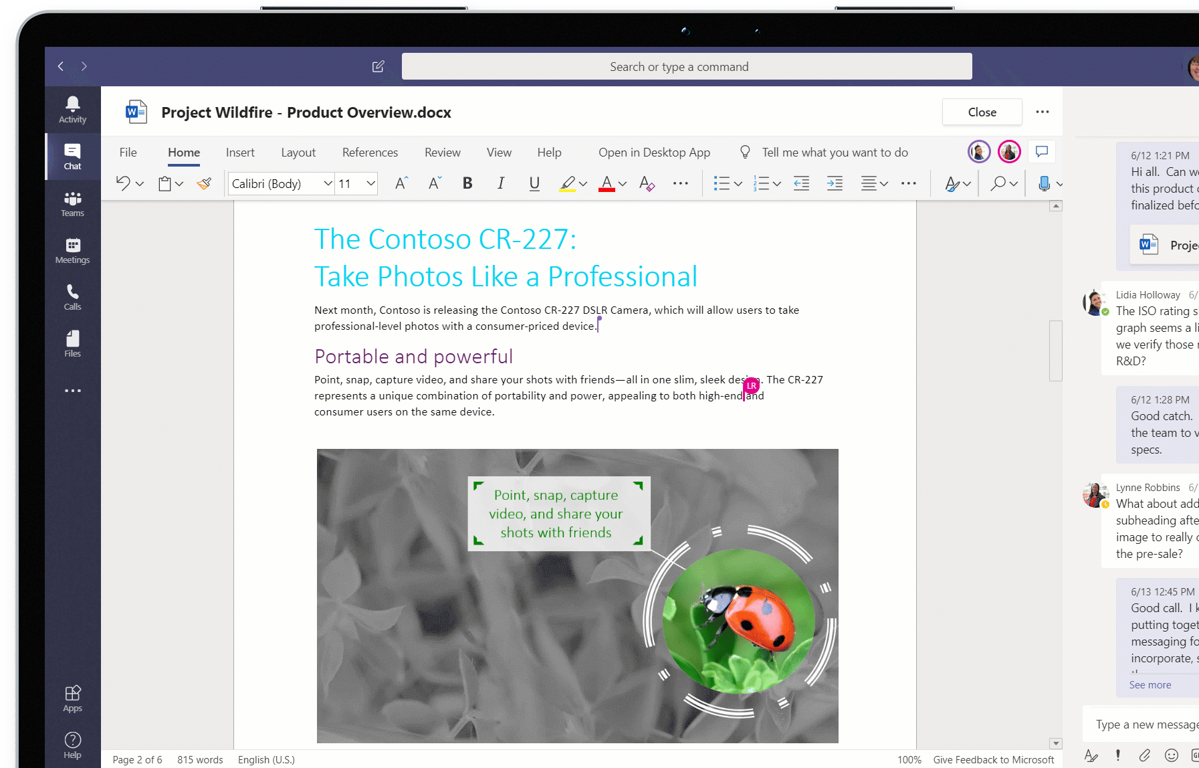 Device screen showing several people collaborating on a Word document in Microsoft Teams.