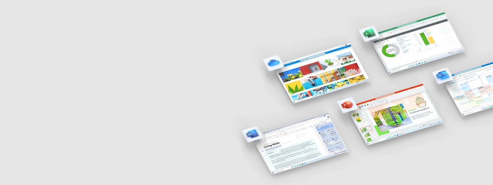 Layar dan ikon aplikasi untuk aplikasi Office yang merupakan bagian dari Microsoft 365