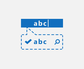 Illustration of a text search icon pointing to a text box.