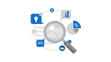 Illustration of magnifying glass connected to different icons representative of different activities such as Sports, news, entertainment etc.