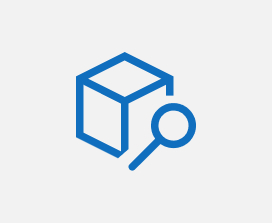 Illustration of a search icon on top of a box icon.