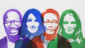 Una ilustración de un grupo diverso de empresarios