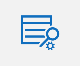 Illustration of a search icon on top of a web page icon.