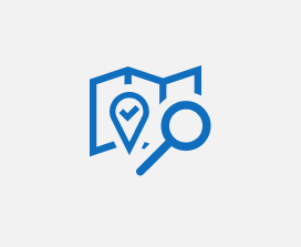Illustration of a search icon and a location icon on a map.