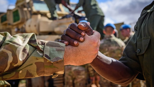 Two members of the military shaking hands.