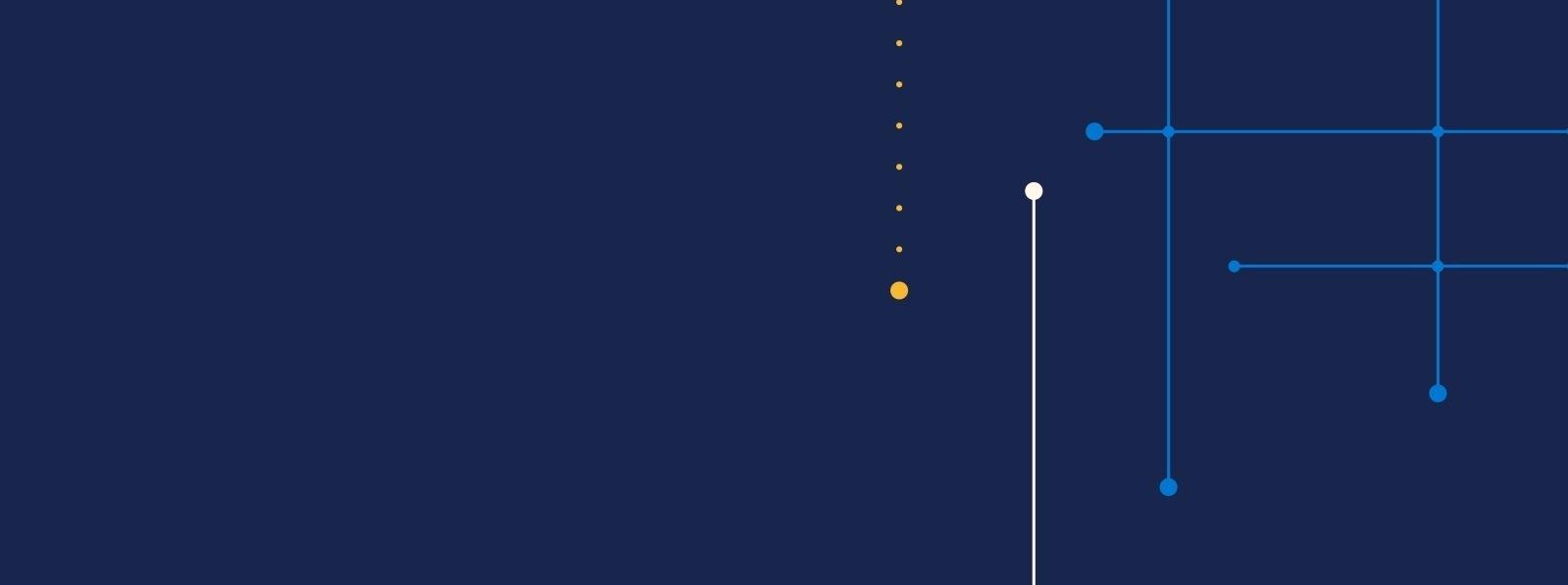 Weiße, blaue und gelbe Linien und Punkte auf dunkelblauem Hintergrund