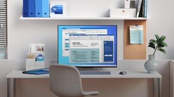 A computer on a desk in a home office showing Word and Outlook windows on screen