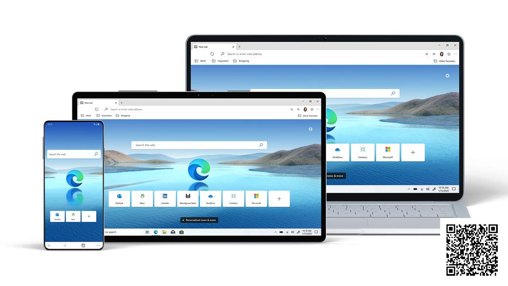 Notebook, tablet, mobilní telefon s domovskou obrazovkou Microsoft Edge s QR kódem.