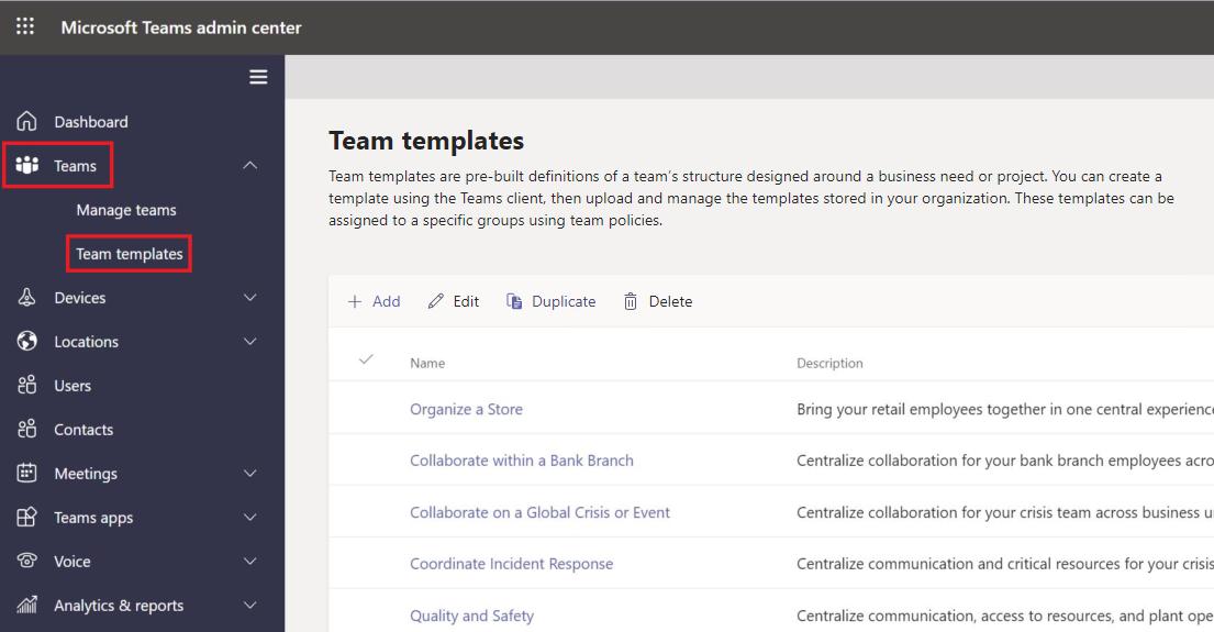 Teams default templates