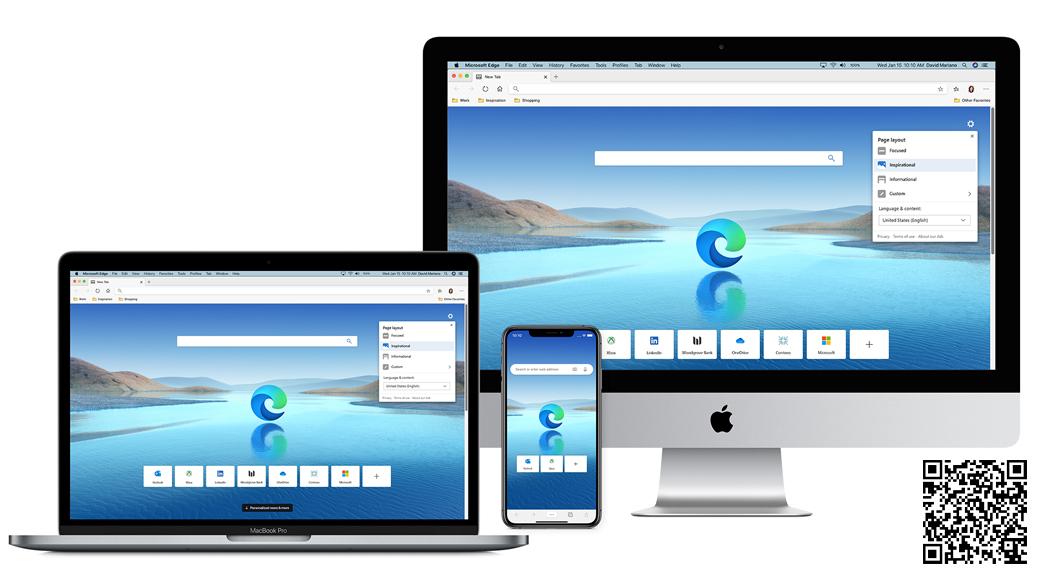 Stolní počítač, notebook, mobilní telefon s domovskou obrazovkou Microsoft Edge s QR kódem.