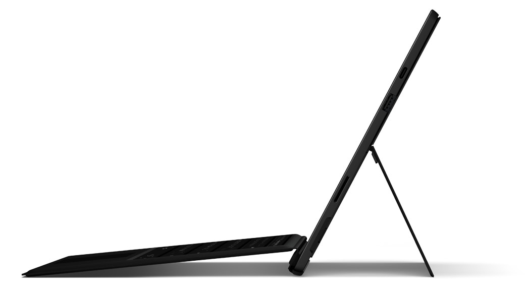 Surface Pro 7 and side view showing kickstand at an angle