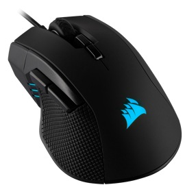 Top-down, left angled view of the Corsair Ironclaw RGB, Optical, 18,000 DPI mouse.