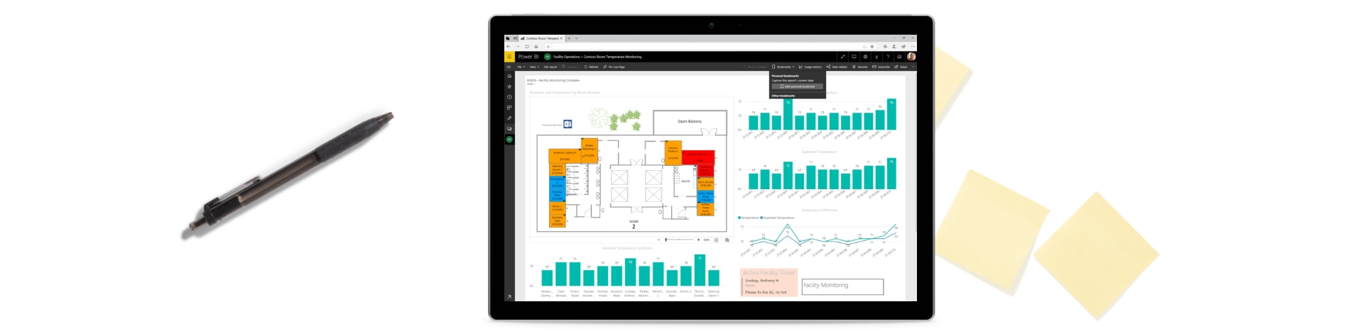 Sticky notes, a pen and a tablet device showing a Power BI dashboard.