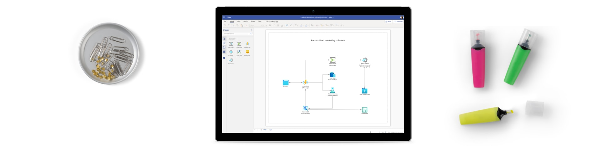 A few highlighters, paperclips and a tablet device showing network diagrams in Microsoft Azure.