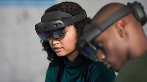 A group of people is using HoloLens.