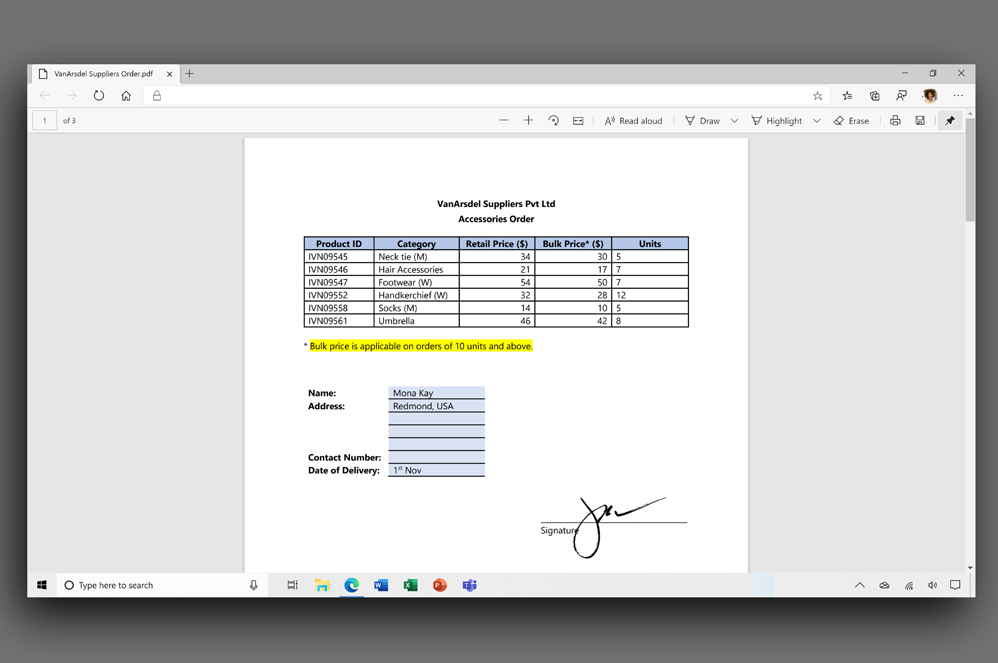 Screenshot of the PDF tool in Microsoft Edge.