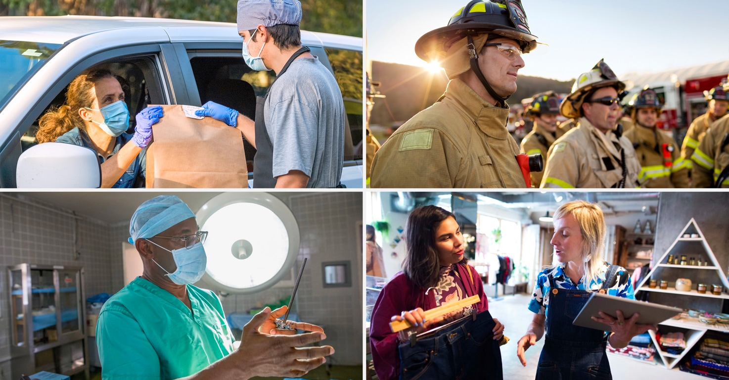Photographs of four different types of frontline workers in four different industries: manufacturing, aviation, healthcare, and retail