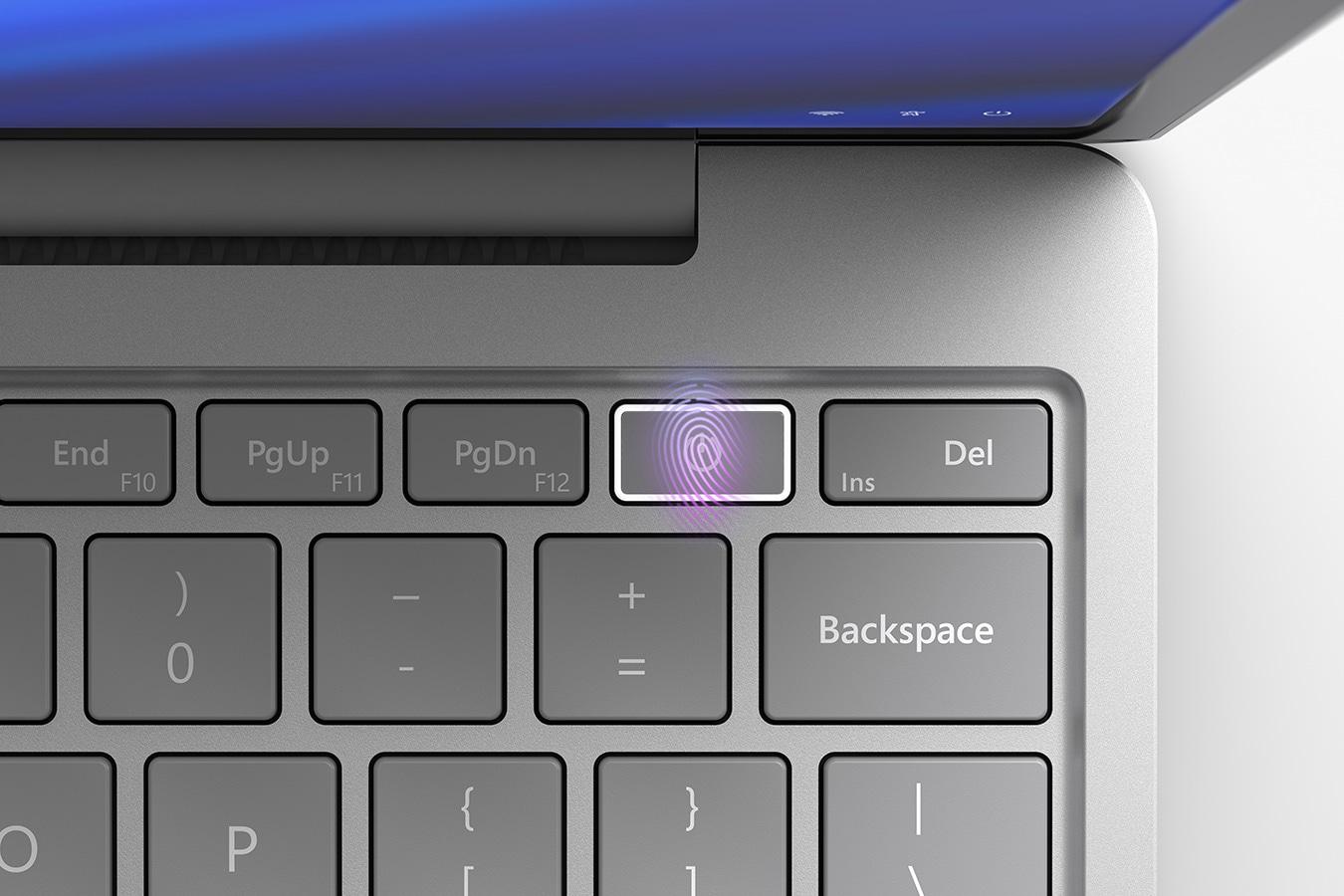 A bekapcsológombba épített ujjlenyomat-olvasó egyes Surface Laptop Go modelleken