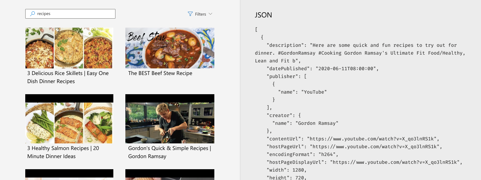 Illustrates a video search experience for recipes.