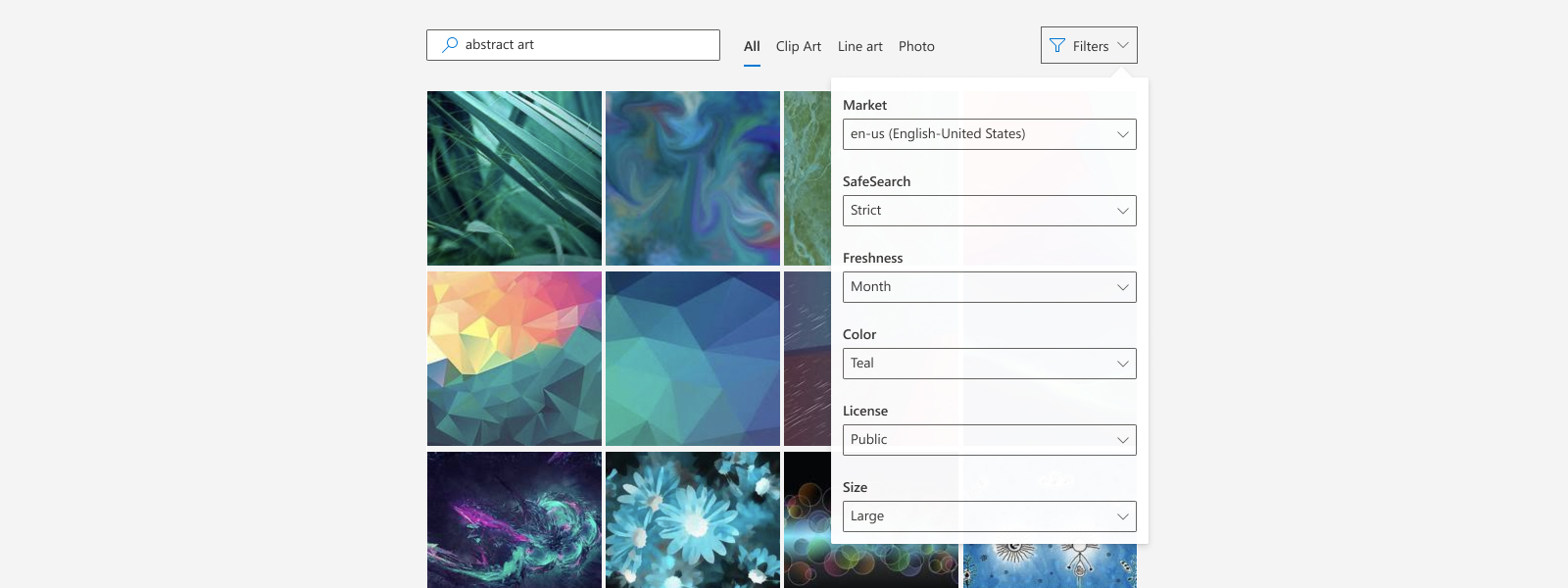 Illustration of using different filters to refine Image Search results in an application.