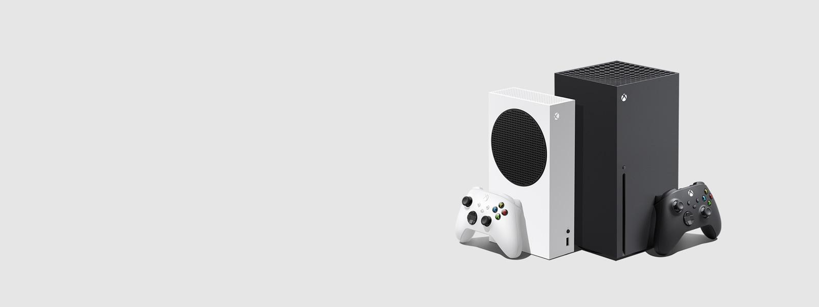 Konzole Xbox SeriesS a Xbox SeriesX se dvěma bezdrátovými ovladači pro Xbox