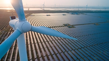 Industrial landscape with solar and wind energy resources