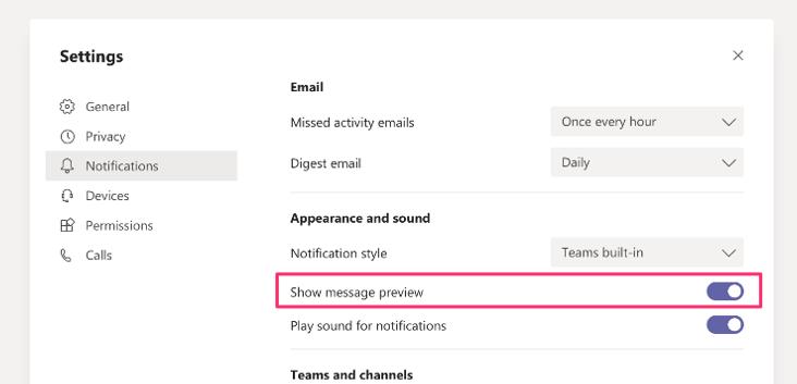 Teams notification settings