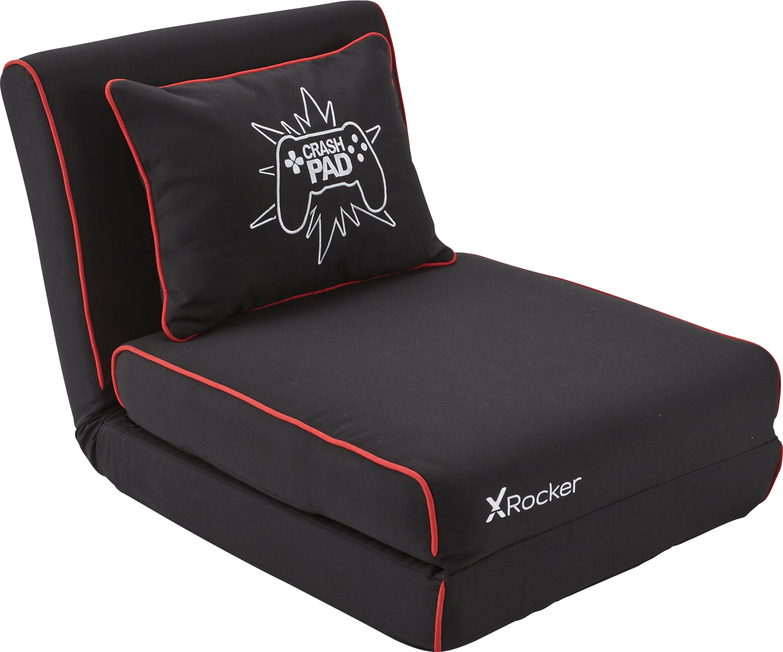 X-Rocker Crash Pad JR Gaming Fold Out Sofa Bed Level up your comfort with this plush, compact floor gaming chair that can fold out to double as a guest bed.