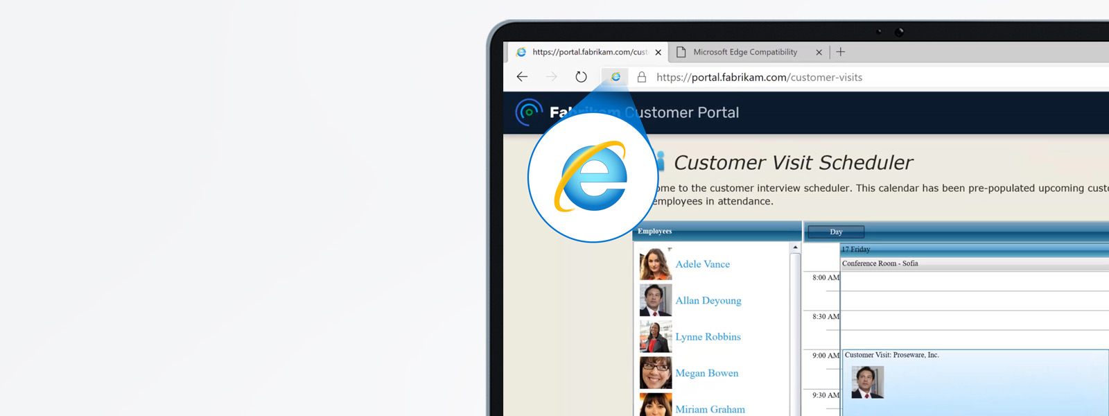 The Microsoft Edge browser with a site open that is using Internet Explorer mode which is indicated by the Internet Explorer icon in the URL address bar.