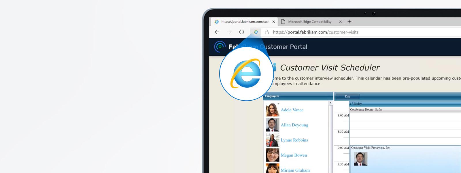 Der Microsoft Edge-Browser mit einer geöffneten Site, die den Internet Explorer-Modus verwendet, der durch das Internet Explorer-Symbol in der URL-Adressleiste angezeigt wird.