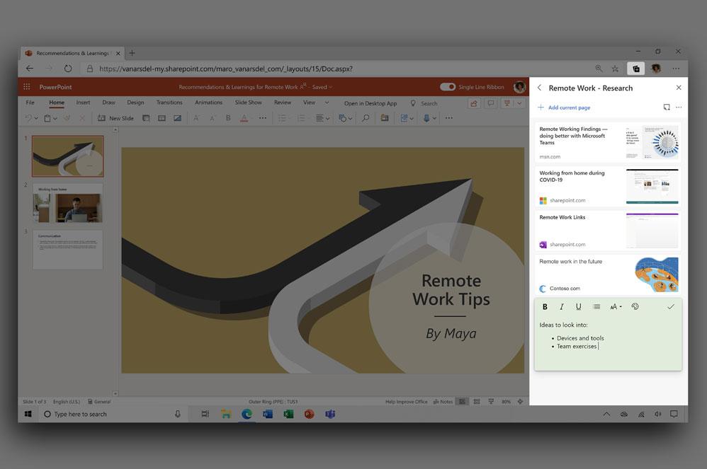 Screenshot der Sammlungsfunktion in Microsoft Edge.