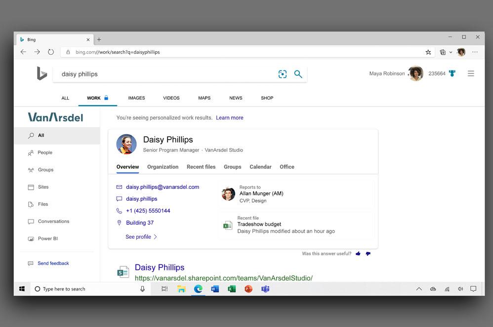 Schermopname van bedrijfsresultaten door gebruik van Microsoft Search in Bing.
