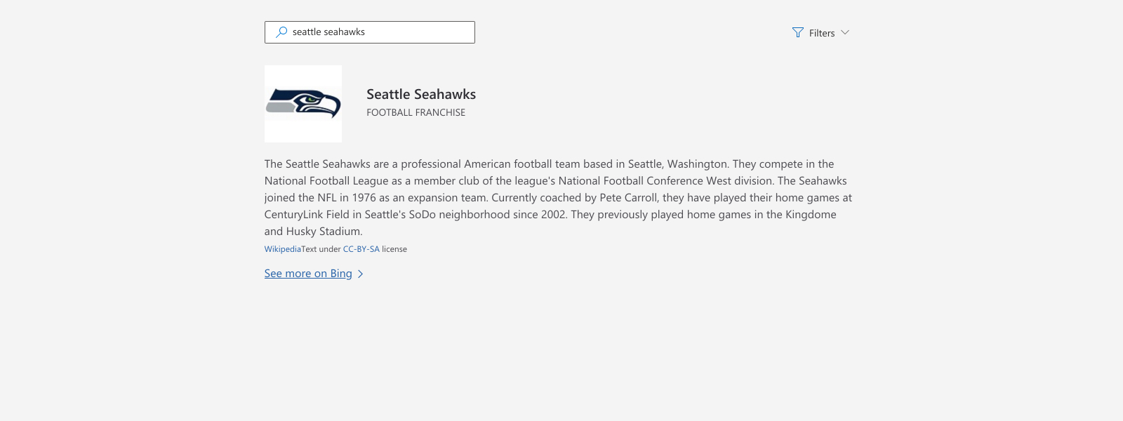 Illustration of looking up information about the Seattle Seahawks.