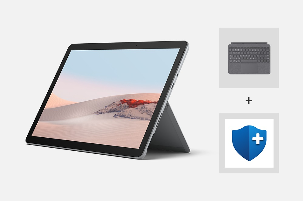 Surface Go 2 for Business with a Type Cover and a logo for Microsoft Complete.