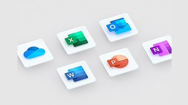 Collection of Microsoft 365 icons, Word, Excel, PowerPoint, Outlook, OneDrive, OneNote