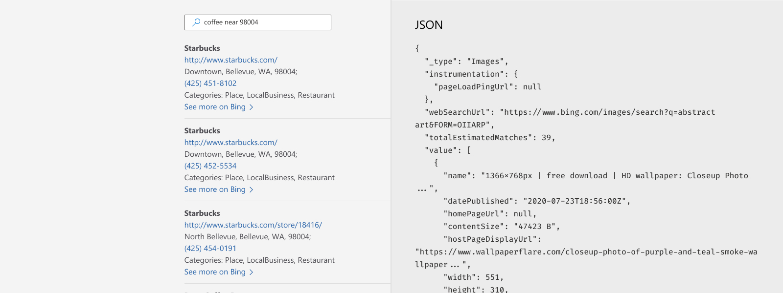 Illustration of JSON response for Bing Entity Search API.