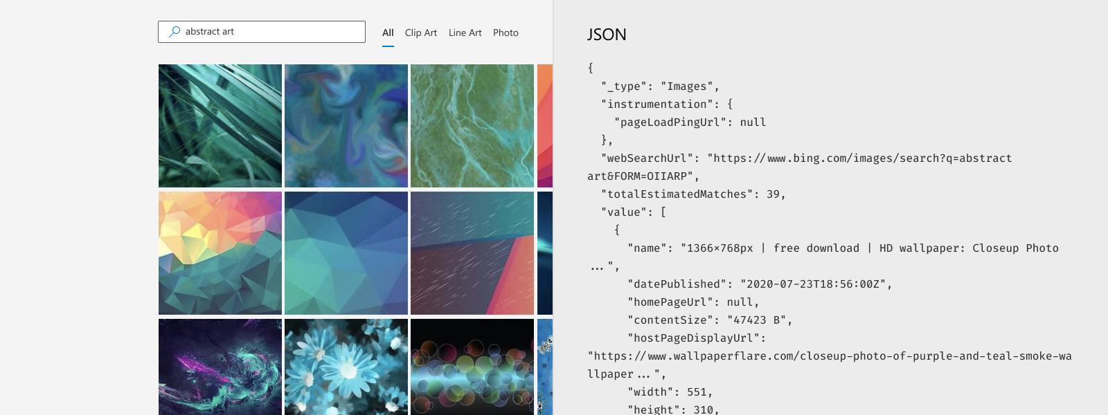 Illustration of representative JSON response for Bing Image Search API.