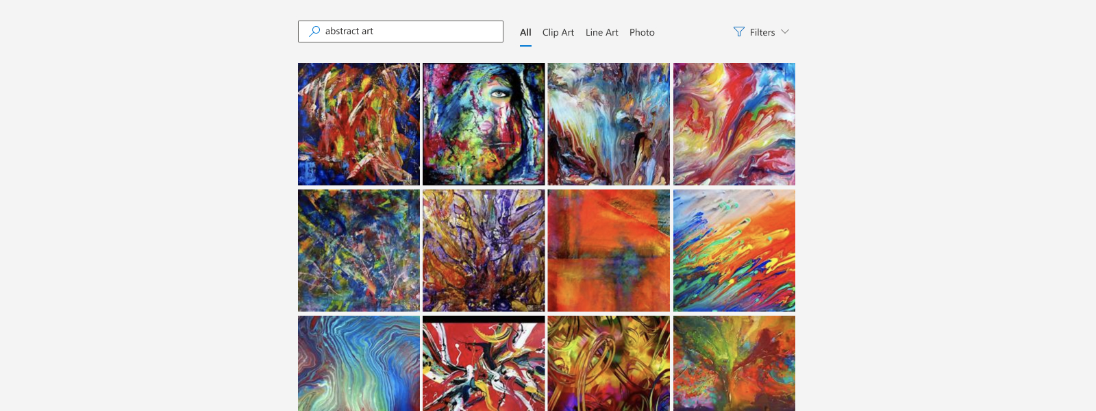 Illustration of generic image search for search term �Abstract art� and its results.